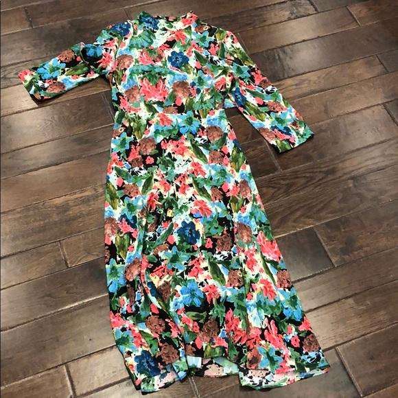 NWOT Floral Tie Back/ Open Back Zara Midi Dress